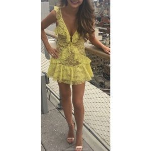 For Love and Lemons yellow lace dress XS NWT